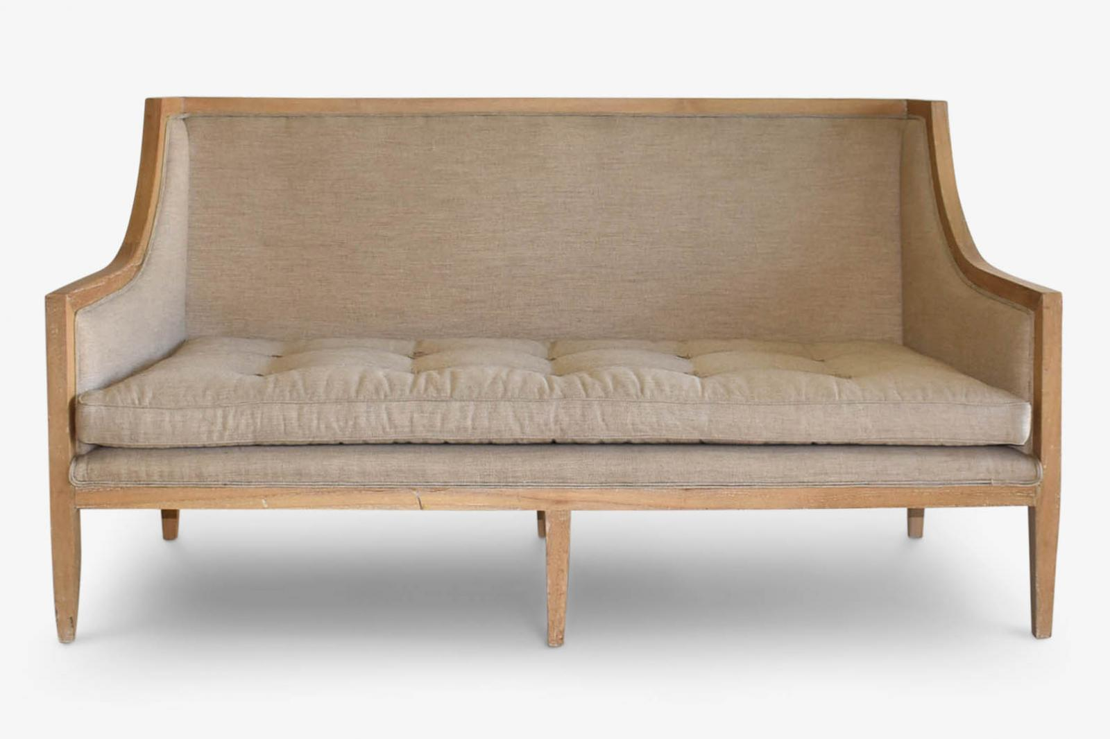 Sofa Lt. Brown Wood Frame Herringbone Wool | Ob•jects