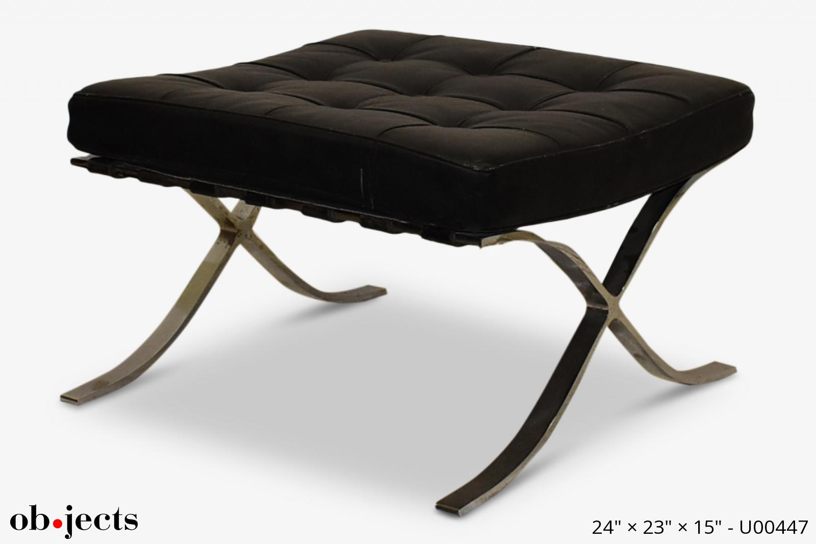 Brilliant Ottoman Footrest Barcelona Black Leather Chrome Objects Pabps2019 Chair Design Images Pabps2019Com