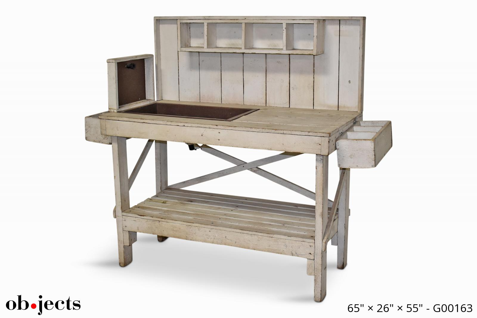 Lakewood 3 Person Swing, Potting Bench White Distressed W Copper Sink Ob Jects