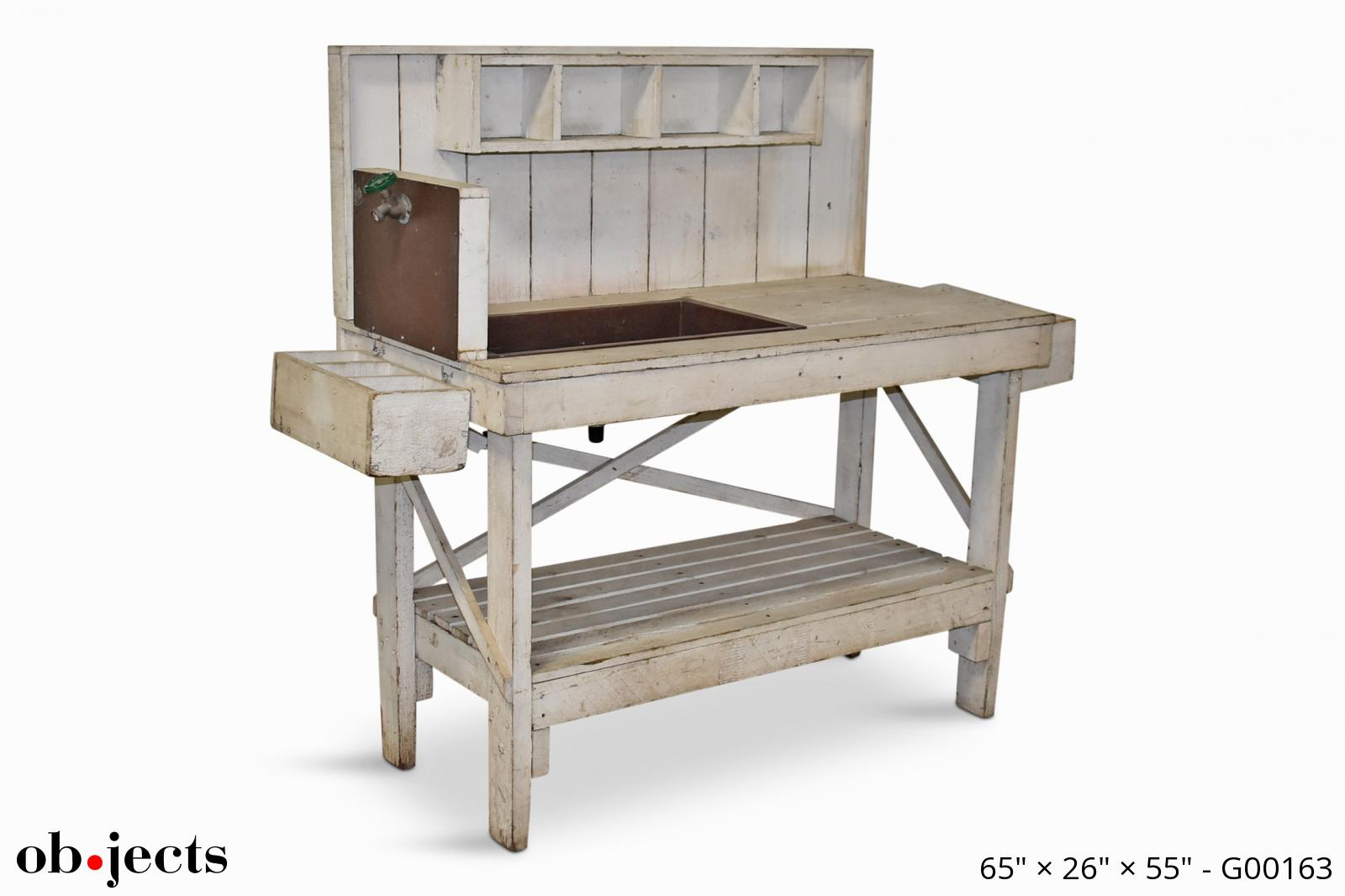 Picture of: Potting Bench White Distressed W Copper Sink Ob Jects