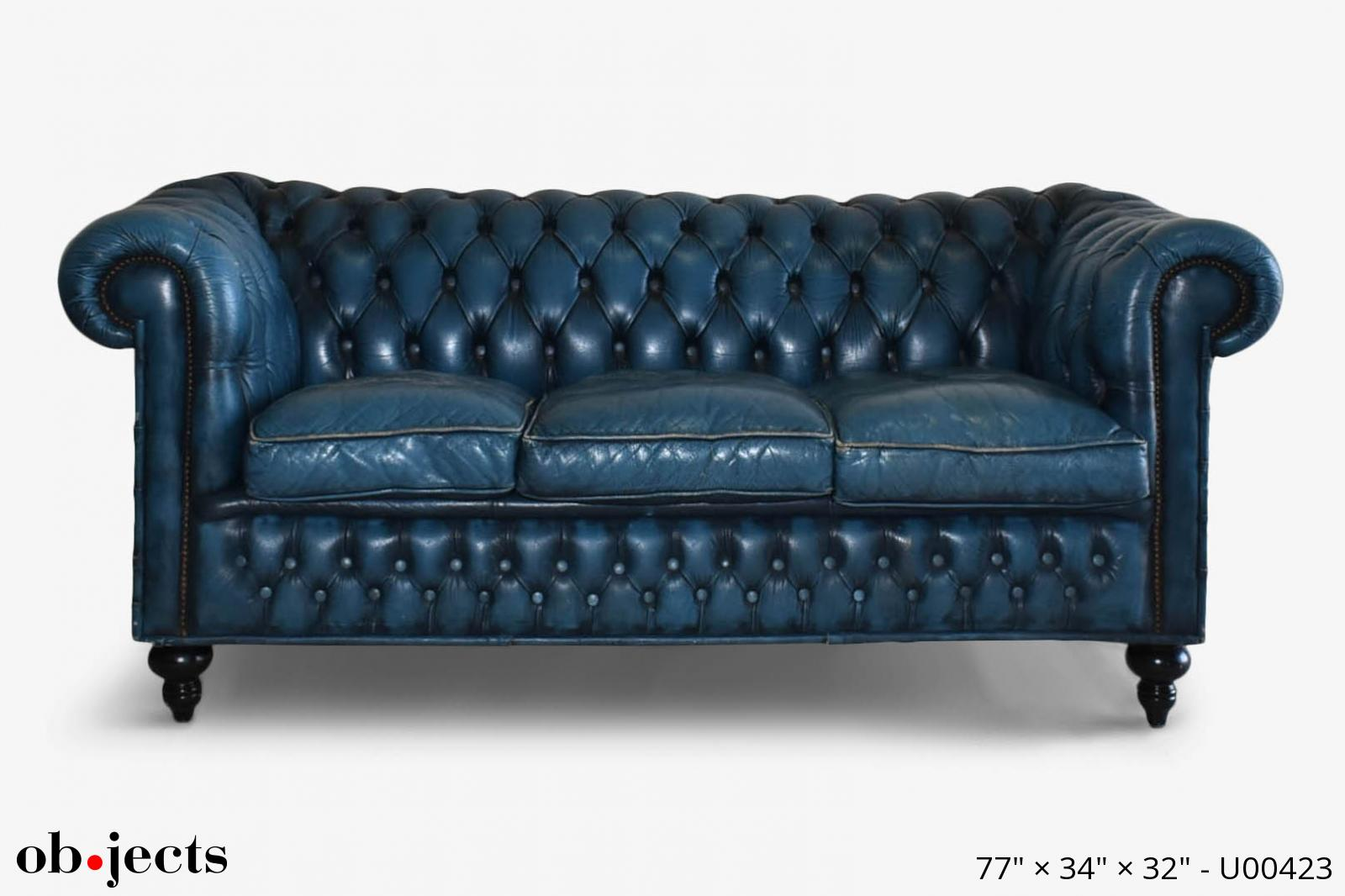 Sofa 6\' Chesterfield Blue Leather Tufted   Ob•jects