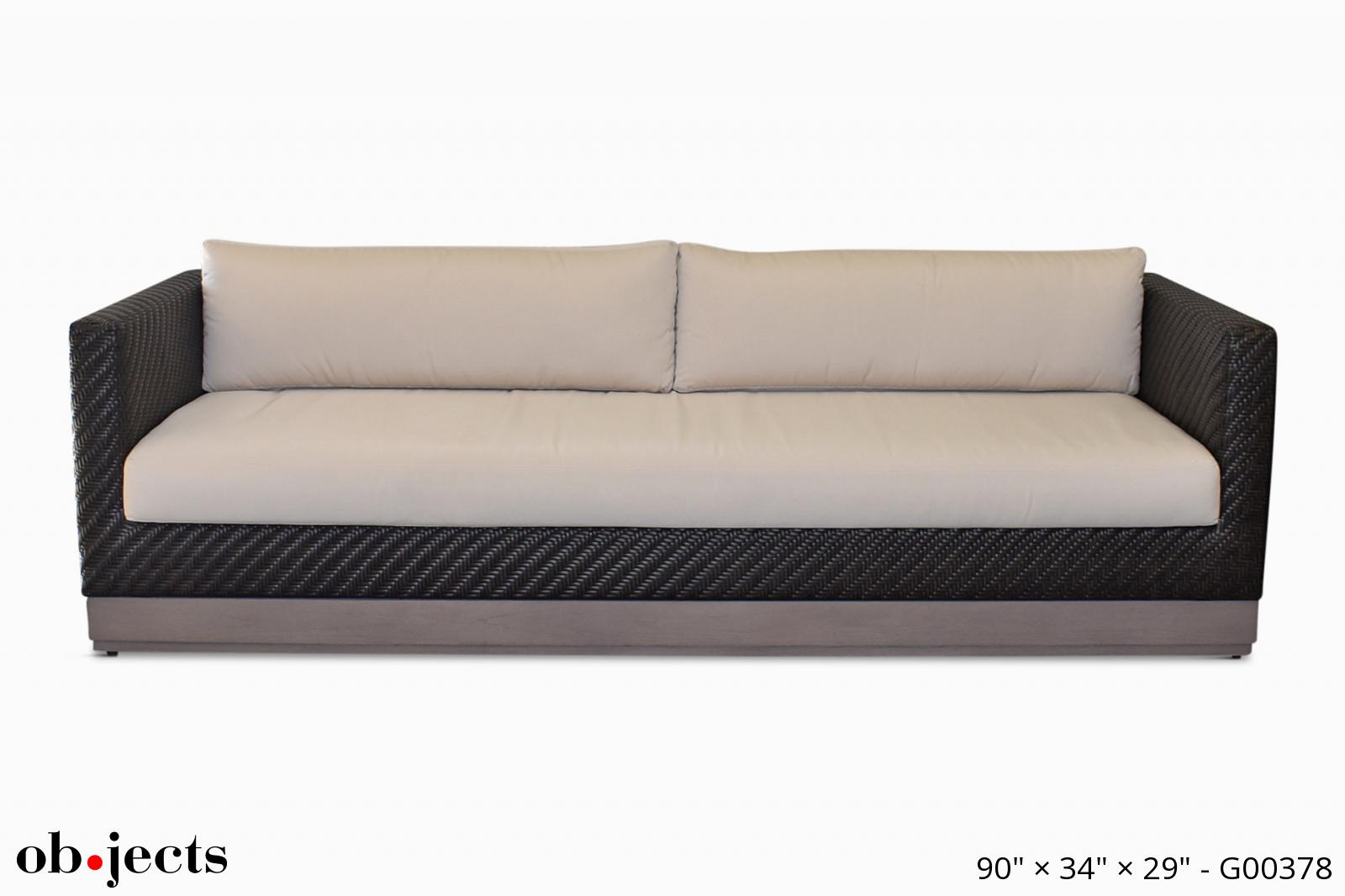 Swell Sofa Indoor Outdoor Brown Synthetic W Off White Cushions Short Links Chair Design For Home Short Linksinfo